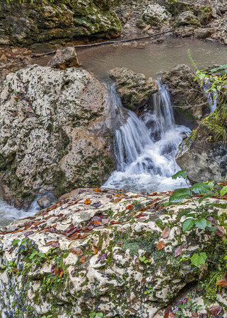 upstream: Russia, Adygea . Golden Autumn. Waterfalls of the creek  Rufabgo , 2 km from the village Kamennomostsky , upstream White . Stock Photo