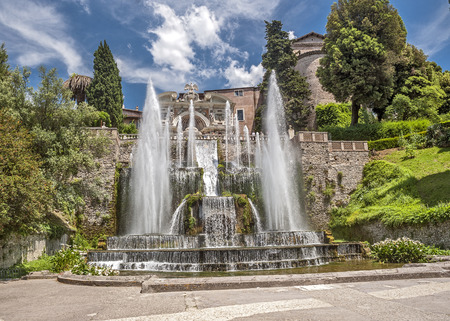 western slope: Tivoli, the elder brother of Rome , located on the western slope of the Sabine Mountains  - a city in the Italian region of Lazio, on the river Anio. Stock Photo
