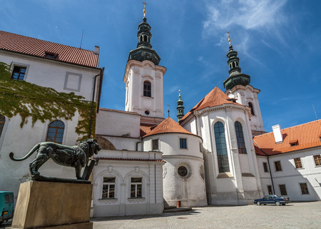Strahov Monastery - Monastery in Prague, Czech Republic architectural monument , located in Hradcany. Patio. Basilica of the Assumption  of the Virgin Mary.