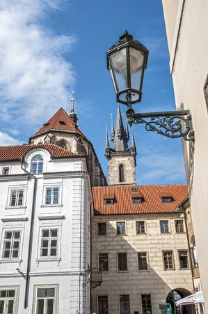 stare mesto: Czech Republic, Prague . Old Town district . One of the streets in the area of ??the Old Town Square . Gas lamp , stylized antique.