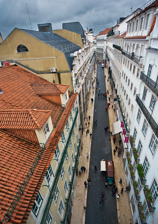 baixa: View of the streets and rooftops of the Lisbon city from the Santa Justa lift Stock Photo