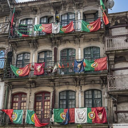 national championship: Portugal, Porto . Residential neighborhoods of the old city after the victory of FC Porto in the national championship .