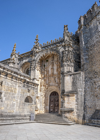 successors: Monastery of the Order of Christ - the main stronghold of the Portuguese Templars and their successors , the Order of Christ. The main entrance . Stock Photo