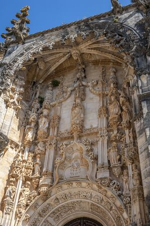 templars: Monastery of the Order of Christ - the main stronghold of the Portuguese Templars and their successors , the Order of Christ. Fragment of the main entrance. Stock Photo