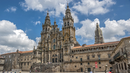 santiago: Cathedral of Santiago de Compostela , Spain. Clear sunny day , the sky white clouds float .
