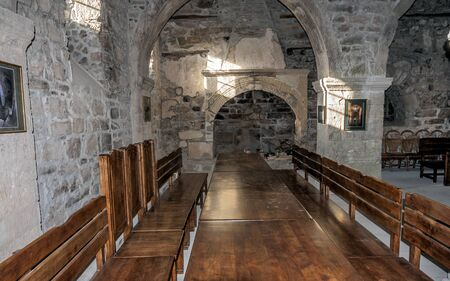 monastic: Crimea near the town of Old Crimea. Monastery of the Armenian Apostolic Church of Surb Khach Holy Cross Convent founded in the fifteenth century. The monastic refectory.