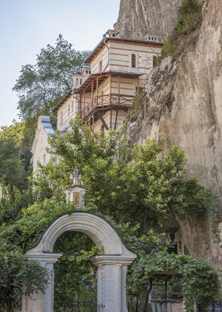 abbot: Bakhchisaray , Crimea , Russia . Holy - Assumption Orthodox cave Monastery . Abbot House , built in the middle of the XIX century.