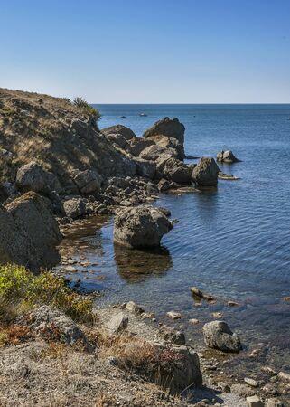 sudak: The peninsula of Crimea, Russia. Neighborhoods city of Sudak. Wild beaches of Cape Meganom Stock Photo
