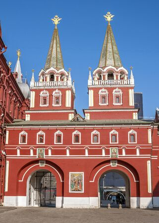 eponymous: Russia, Moscow, Red Square. Resurrection Iberian gate of China-town - double pass-gate Kitai-Gorod wall in the eponymous passage between the building of the City Council and the Historical Museum. Gates gave the name of the Resurrection Square.