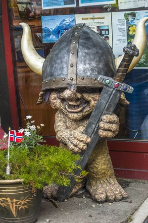 troll: Norway, village Geiranger . Figure of troll at the entrance to the museum fjords .