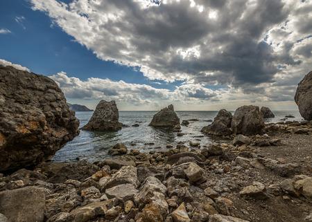 sudak: Russia, peninsula of Crimea, near Sudak. Mountain and Cape Alchak-Kaya, Kapsel bay. Stock Photo