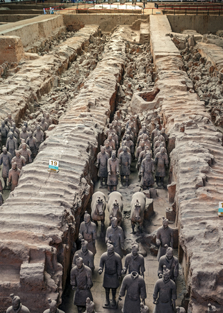 China. More than eight thousand full-size clay figures of warriors, horses and chariots were buried near the mausoleum of Emperor Qin Shi Huang in Xian.