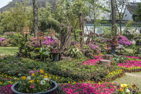 Suzhou, China. Man-made Chinese landscaped gardens - a poem of flowers, stones and water, it is considered one of the finest examples of landscape architecture. Stock Photo