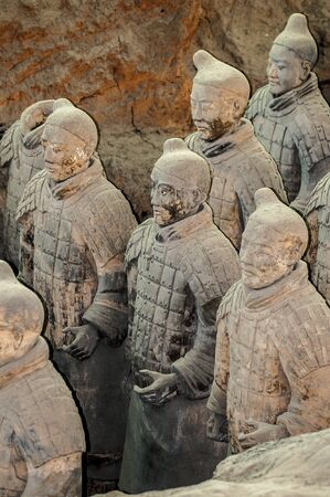 soldiers: China. More than eight thousand full-size clay figures of warriors, horses and chariots were buried near the mausoleum of Emperor Qin Shi Huang in Xian.