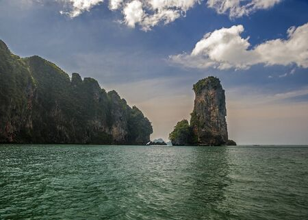Thailand, Krabi province, near the village of Ao Nang. Unusual beach Reilly on isolated from the mainland peninsula of Railay is surrounded by the warm Andaman Sea, lush jungles and twisted rock.