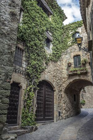 Spain, Catalonia , Girona, Pals .The first mention Pals refer to the 9th century. Very beautiful medieval town . Stone streets, buildings, cozy little town Square, an observation deck .