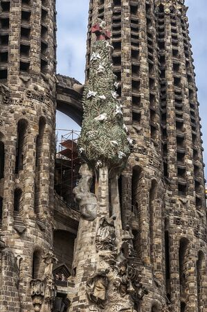 Spain, Barcelona, ??Sagrada Familia . Sculptural group of biblical themes in the facade of the cathedral .