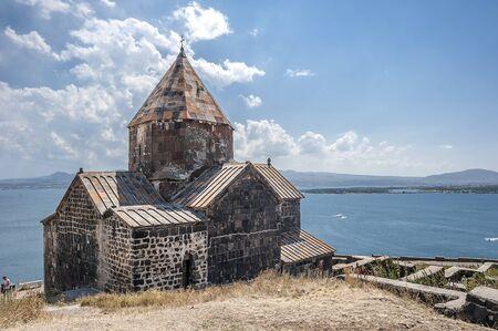 Armenia. The  Church of Surb Arakelots in the Monastery of Sevanavank,  built in the eighth century. View of Lake Sevan. Stock Photo