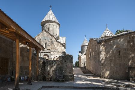 Armenia. Inner courtyard of the monastery Haghartsin. Church St. Grigor, Surb Astvatsatsin, Surb Stepanos and the refectory.