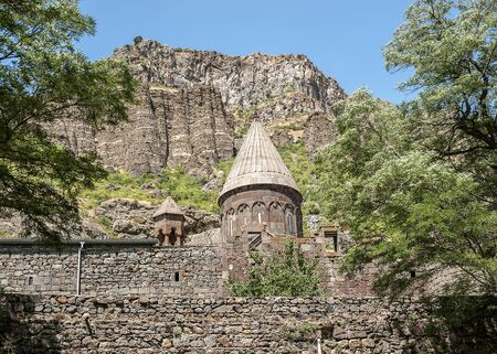 Armenia. The monastery complex of Gegrdavank is protected from three sides by powerful stone walls, on the fourth side - by impregnable rocks.