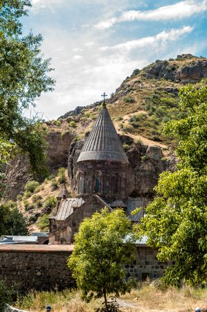 Armenia, the monastery of Gegardavank. The main church of the complex is Katogike, surrounded by khachkars. Stock Photo