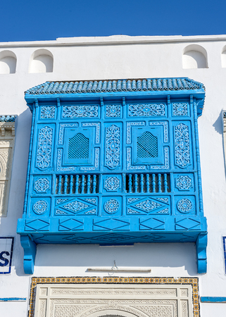 Tunisia, Sousse, the medina. Arab architecture abounds on the facades of balconies of various types, decorated with ornaments.