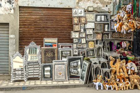 Tunisia, Sousse. The market in the old city (Medina). Stamping on copper, melchior and even silver. From ornaments to dressing tables with mirrors. Editorial