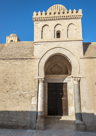 Tunisia, the cathedral mosque of Kairouan, the most holy city of the Muslims of Maghreb. It was laid down together with the city in the seventh century. Stock Photo