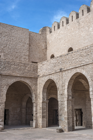 Tunisia, Sousse. The old city (Medina), the fortress-monastery Ribat, built in the eighth century AD. The inner courtyard of the fortress.