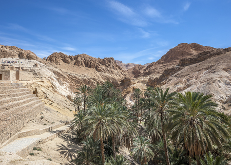 Tunisia, near the town of Towser. The oasis of Shebik is the most beautiful of the mountain oases on the way to the border of Algeria.