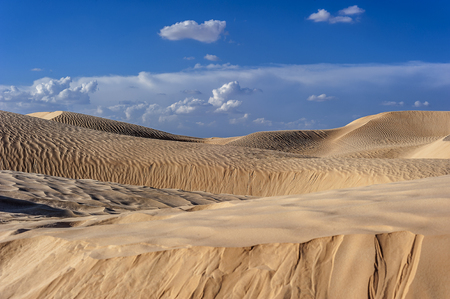 Sunset in the Sahara. Depending on the position of the light, sand dunes change color.