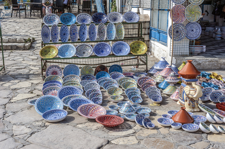 Tunisia, Sousse. The market in the old city (Medina). Famous Tunisian traditional ceramic ware.