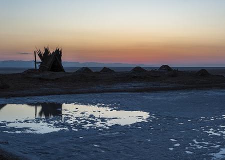 Tunisia. Sunrise over the salt lake of El Jerid.