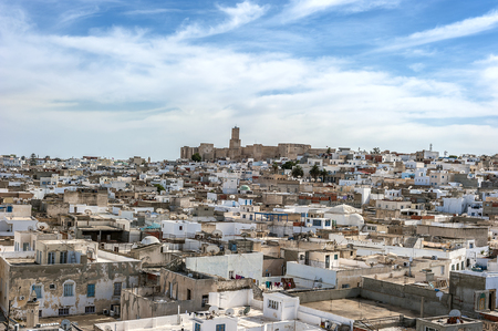 Tunisia, Sousse. Panorama of the city from the watchtower of the fortress of Ribat, view of the fortress of Kasbah. Stock Photo