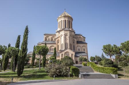 Georgia, Tbilisi. The main cathedral of the Georgian Orthodox Church Temple Tsminda Sameba (Holy Trinity).