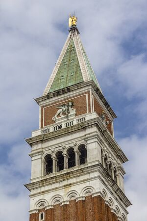 Italy.The Campanile of St. Mark's Cathedral is a separate bell tower (campanile) 98.6 meters high at the Cathedral of St. Mark in Venice. Located on the Piazza San Marco.
