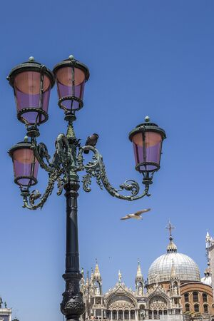 Italy, Venice. Street bronze lamp on the background of one of the facades of the Cathedral of St. Mark. Pigeons and seagulls.