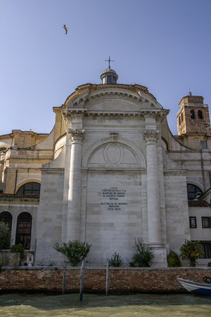 Italy, Venice. The Church of St. Jeremiah (La chiesa di San Geremia) in the Cannaregio district. This is an important religious building, which houses the relics of St. Lucy of Syracuse about what the inscription on the facade says. Editorial