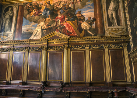 Italy, Venice. The Doges Palace, the Hall of the College was intended for meetings of the College of Sages and the Most Serene Signoria Editorial