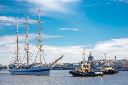 frigate: ST. PETERSBURG, RUSSIA - April 16, 2016: Frigate MIR floating on the Neva River St. Petersburg, Russia