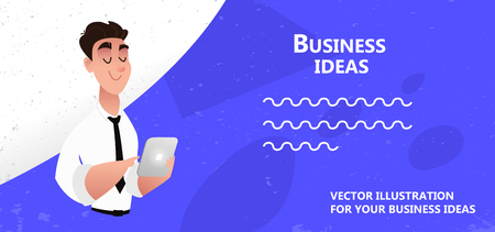 Vector illustration with business man, web poster concept. Business people character vector illustration flat design. Use in Web Project and Applications. Bright blue grunge background
