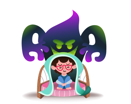 Little frightened child sitting on bed and hiding from frightening ghost. Fearful kids under blanket and imaginary monster. Cartoon characters isolated on white background. Concept vector illustration