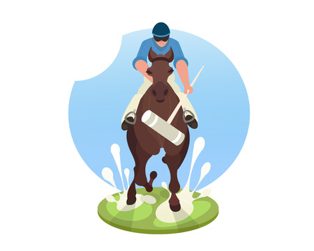 Players playing polo on green field. Polo horse racing, hooded on horseback,, long-handled mallet, team sport, polo pony. Isolated illustration on a white background