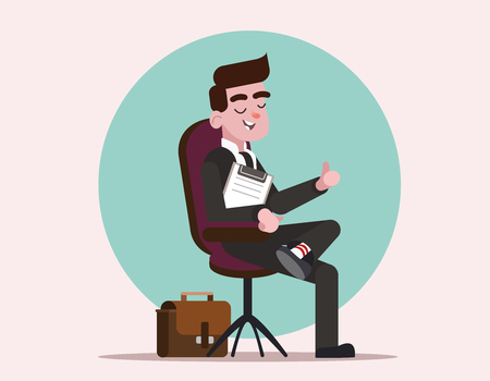 The man got the job of the boss Happy boss practicing job interview. Businessman is sitting in the boss chair. Businessman in suit shows thumb. Cartoon character businessman. Flat vector