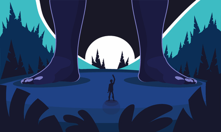 The night meeting of the night landscape. Big legs of the giant in the frame. Night coniferous forest. Cartoon flat style illustration Ilustração