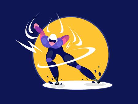 Speed skater. Speedskater athlete speed skating ice arena. Man skating on ice rink. Speed skating race skater athlete winter sport man. Vector isolated flat illustration in cartoon style.