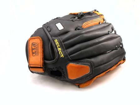 black and orange leather baseball glove