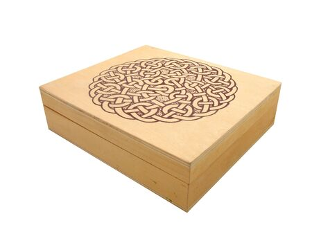 wooden box with design on top