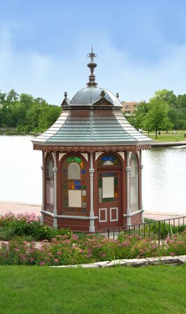 outbuilding: outbuilding with colored windows gazebo shaped