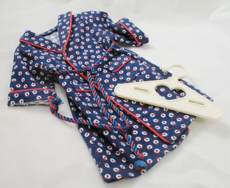 blue and red flannel robe doll clothes with hanger and tie